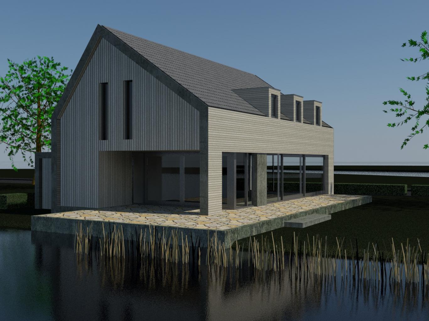 Nieuwbouw Woning Te Warga 3D Voorgevel